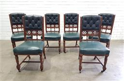 Sale 9142 - Lot 1051 - Set of Six Victorian Oak Dining Chairs, with pierced gallery backs & upholstered in green buttoned leatherette, raised on turned leg...