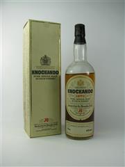 Sale 8329 - Lot 549 - 1x 1970 Knockandoo Distillery Single Malt Scotch Whisky - bottled 1981, evaporative losses, 750ml bottle in box
