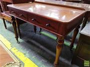 Sale 8485 - Lot 1081 - Victorian Mahogany Side Table, by Heal & Son, with two drawers & turned legs