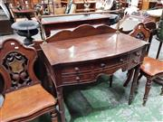 Sale 8714 - Lot 1049 - George III Mahogany Bow Front Small Sideboard / Servery Table, with brass gallery, five drawers and ring turned legs