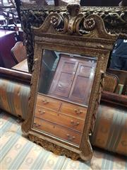 Sale 8814 - Lot 1063 - George II Style Carved & Gilt Wood Mirror, with broken arch top & floral border. 116 x 67cm