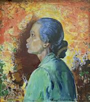 Sale 8894A - Lot 5005 - Mary A Edwards (1894 - 1988) - Javanese Girl, 1942 50 x 44.5 cm
