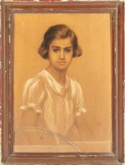 Sale 8976H - Lot 48 - Schaler (German/Austrian?) Portrait of a young womanWatercolour Gouache SLL Dated 1917 68x48cm (chipping to frame glass cracked)