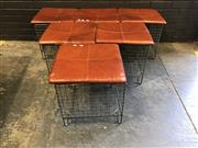 Sale 8988 - Lot 1085 - Collection of 6 Wire Form Stools with Leather Freedom Furniture Tops - Wire Tops Damaged (H:46 W:46 D:46cm)