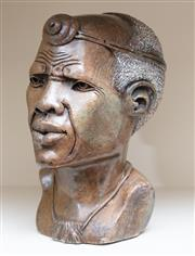 Sale 9005H - Lot 91 - A carved stone African elder, Height 23cm