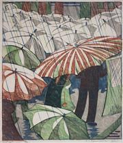 Sale 9081A - Lot 5099 - Ethel Spowers (1890 - 1947) - Wet Afternoon 37.5 x 31 cm (frame: 67 x 57 x 3 cm)