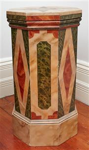 Sale 9081H - Lot 11 - A Brian Barrow (Australian) bespoke octagonal form Trompe-lœil marble  lamp table, Height 73cm x Width 38cm