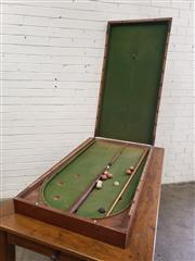 Sale 9085 - Lot 1059 - Victorian Mahogany Table Top Bobs Game, in folding case, having D shaped end & green baize interior, with scorer to edge & two cue...