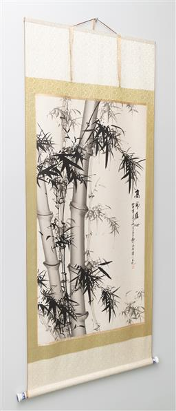 Sale 9256H - Lot 78 - A Chinese scroll depicting bamboo, with seal mark with porcelain scroll weight, H 190cm x W 80cm.