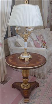 Sale 8430 - Lot 27 - A pair of Empire style marble gilt metal and ceramic rose electric candle lamps with cream pleated shades. Height 89cm.