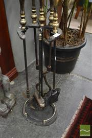 Sale 8480 - Lot 1171 - Set of Iron Fire Tools with Brass Handles