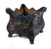Sale 8599A - Lot 29 - An antique French blue painted cast iron square form jardinière, H 34 x W 36 x D 36cm