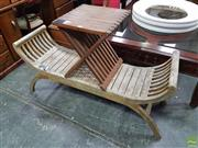 Sale 8601 - Lot 1431 - Timber Two Seater Outdoor Bench & Side Table (2)