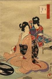 Sale 8696A - Lot 5046 - Yoshu Chikanobu (1838 - 1912) - Woman Making a Tray Landscape 32 x 21cm