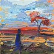 Sale 8704A - Lot 5026 - Laura Matthews (1964 - ) - Study: Figure in Landscape 28 x 28cm
