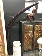 Sale 8851 - Lot 1014 - Large Faux Elephant Form Timber Sculpture ex Runway Porp