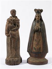Sale 9003C - Lot 658 - Two Filipino carved timber santos figures (H32.5cm)