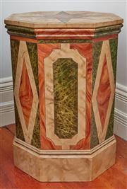 Sale 9081H - Lot 15 - A Brian Barrow (Australian) bespoke octagonal form Trompe-lœil marble lamp table, Height 73cm x Width 54cm