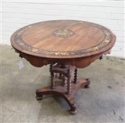 Sale 9085 - Lot 1001 - Good & Unusual Victorian Inlaid Rosewood Centre or Occasional Table, the round top with central floral panel, with dark stained band...