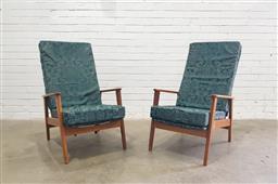 Sale 9112 - Lot 1066 - Pair of teak framed vintage armchairs (h:97 w:62 d:47cm)