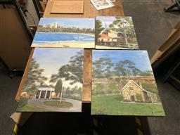 Sale 9152 - Lot 2086 - JOHN COLBERT - Cottage and Church (x3 paintings) Largest 51 x 61