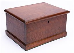 Sale 9190E - Lot 56 - A carved timber lift top box with sewing threads, Height17.5cm x Width 31.5cm x Depth 24cm