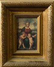 Sale 8418A - Lot 18 - A reproduction Quattro Centro painting in gilt frame, total H 26 x 20cm