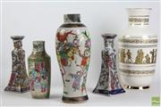 Sale 8466 - Lot 100 - Famille Rose Chinese Vase Together With Others Incl Satsuma Candlesticks And A Greek Example