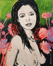 Sale 8657A - Lot 5058 - David Bromely (1960 - ) - Mallory with Flowers 36 x 28.5cm (frame: 61 x 52.5cm)