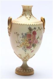 Sale 8677 - Lot 22 - Royal Worcester Urn Painted With Flowers H:19cm