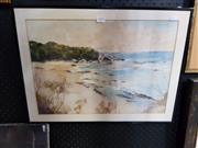 Sale 8702 - Lot 2071 - Artist Unknown - Beach Scene, watercolour, SLR -