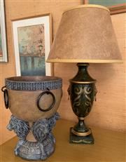 Sale 8510A - Lot 33 - A toleware green and gold baluster form lamp with lion mask and ring pull handles H inc shade 64cm, together with a decorative urn o...