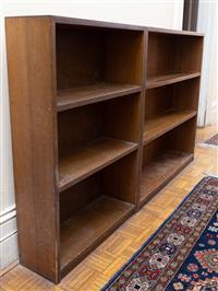 Sale 8735 - Lot 68 - Three Tasmanian oak graduated timber bookshelves, each height 91cm, W x 61cm, D x 20cm, larger W 119cm D x20cm