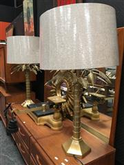 Sale 8859 - Lot 1008 - Pair of Brass Palm Form Table Lamps