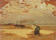Sale 9001 - Lot 596 - Capt. C M Gonne R.A - Moored Boats & Low Tide 22.5 x 32 cm (frame: 33 x 42 cm )