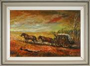 Sale 9053 - Lot 2042 - Andy Lomnici (1922 - 1990) - Stage Coach Outback Run 29 x 44.5 cm (frame: 42 x 57 x 4 cm)