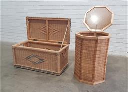 Sale 9112 - Lot 1053 - Liftop can trunk & basket (h63cm)