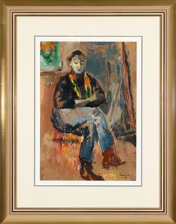Sale 9256H - Lot 63 - Judy Cassab - Girl with Coloured Scarf signed lower right and dated 1987, ex Schubert Galleries, ex Joans Ridge Street Art Gallery,...