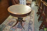 Sale 8383 - Lot 1292 - Leather Top Drum Table w 2 Drawers