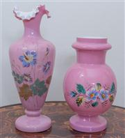 Sale 8430 - Lot 19 - Two Edwardian painted pink glass mantle vases