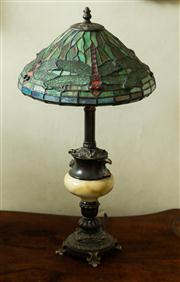 Sale 8418A - Lot 19 - A Tiffany style dragonfly lamp, damage to foot, H 60cm
