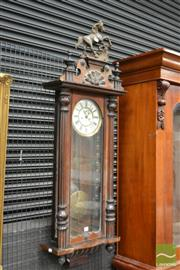 Sale 8460 - Lot 1031 - 19th Century Gustav Becker Wall Mounted Regulator Clock with Key (missing weight)
