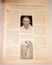 Sale 8460C - Lot 55 - Sydney Mail, single page Wednesday January 29, 1936. Article The Greatness of Bradman by M.A. Noble. Very good.