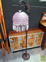 Sale 8495F - Lot 1011 - Glass Shade Standard Lamp