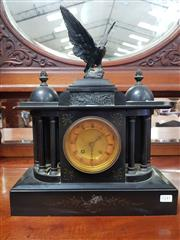 Sale 8802 - Lot 87 - Late 19th Century Slate Mantle Clock, of temple form, the recessed dial flanked by columns, surmounted by an eagle & two cupolas, wi...