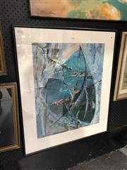 Sale 8828 - Lot 2103 - Rick Ball Bushwalk in Blues 1993 mixed media, 81 x 70cm, signed verso