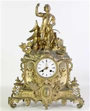Sale 8935 - Lot 21 - Late 19th Century French Gilt Brass Mantle Clock (with key) H:48cm