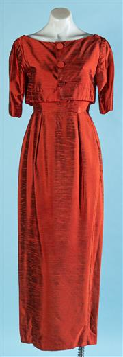 Sale 9090F - Lot 13 - A VINTAGE 60s STYLE EVENING GOWN AND BOLERO JACKET; in red raw silk with panelled pencil skirt, size S
