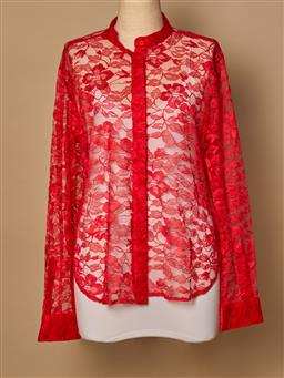 Sale 9093F - Lot 11 - A Christopher Kane red lace button up top, size 12
