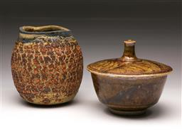 Sale 9114 - Lot 92 - Studio pottery vase -stamped to base (H:17cm) together with a lidded bowl (H:15cm)